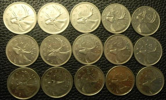25 центів Канада (порічниця), 15шт, всі різні