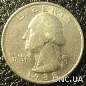 25 центів США 1988 P