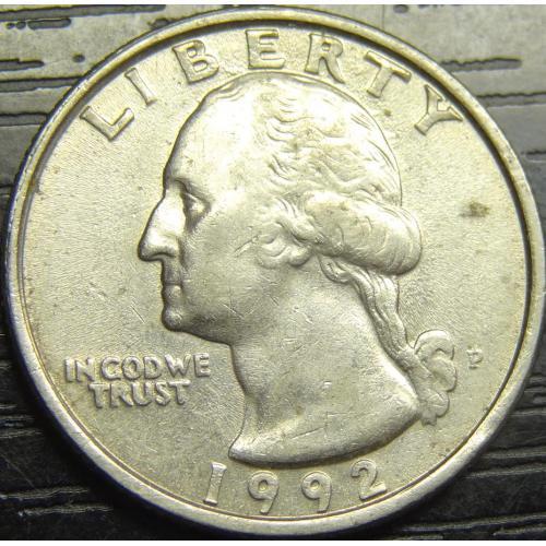 25 центів США 1992 P нечаста