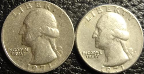 25 центів 1971 США (два різновиди) рідкісні