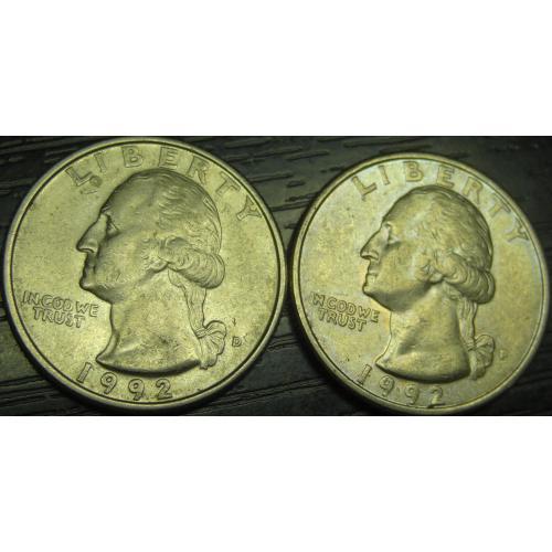 25 центів 1992 США (два різновиди) нечасті