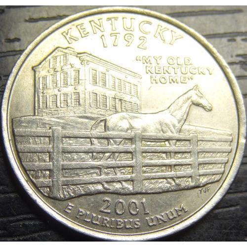 25 центів 2001 D США Кентуккі