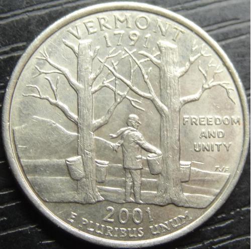 25 центів 2001 D США Вермонт