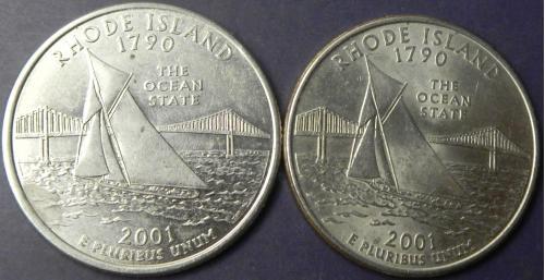 25 центів 2001 США Род-Айленд (два різновиди)
