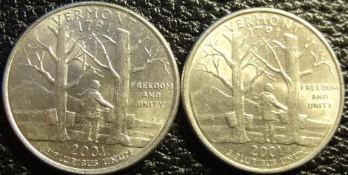 25 центів 2001 США Вермонт (два різновиди)
