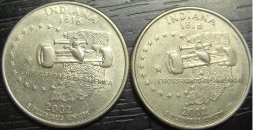 25 центів 2002 США Індіана (два різновиди)
