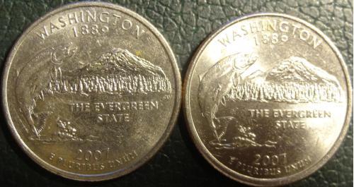 25 центів 2007 США Вашингтон (два різновиди)