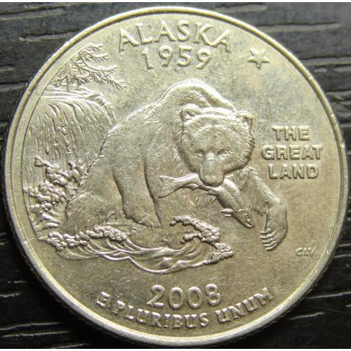 25 центів 2008 D США Аляска