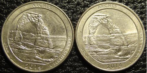 25 центів 2014 США Арки (два різновиди)
