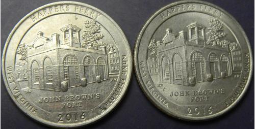 25 центів 2016 США Харперс Феррі (два різновиди)