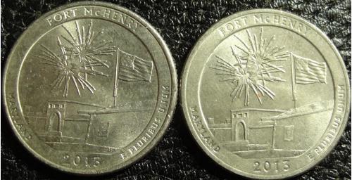 25 центів США 2013 Форт Мак-Генрі (два різновиди)