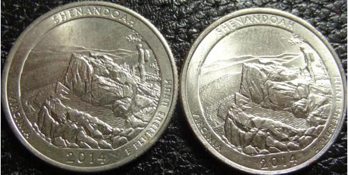 25 центів США 2014 Шенандоа (два різновиди)