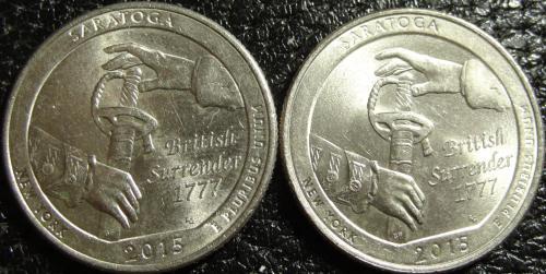 25 центів США 2015 Саратога (два різновиди)