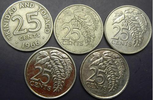 25 центів Тринідад і Тобаго (порічниця) 5шт, всі різні