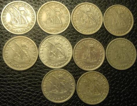 25 ескудо Португалія (порічниця) 10шт, всі різні