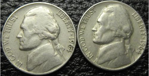 5 центів 1964 США (два різновиди)
