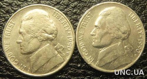 5 центів 1990 США (два різновиди)