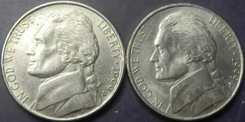 5 центів 1999 США (два різновиди)