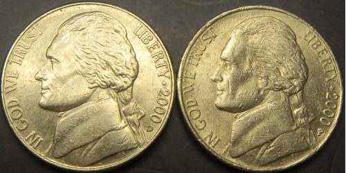 5 центів 2000 США (два різновиди)