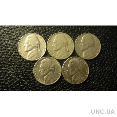 5 центів США (порічниця) 5шт, всі різні