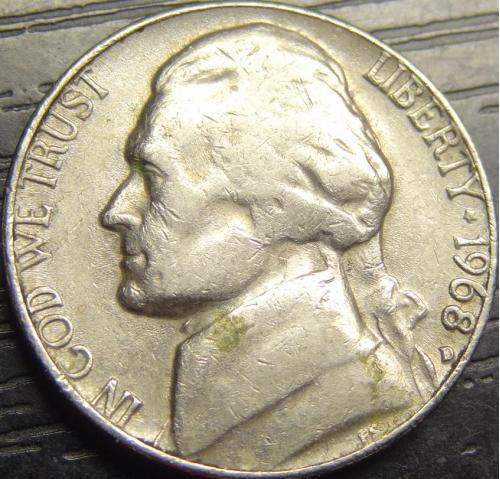 5 центів 1968 D США нечаста