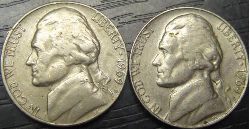 5 центів 1969 США (всі монетні двори)