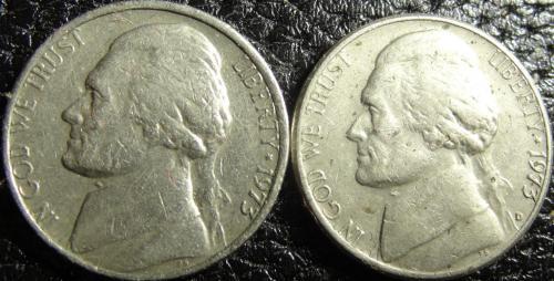 5 центів 1973 США (два різновиди) нечасті