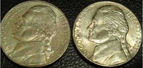 5 центів 2003 США (два різновиди)