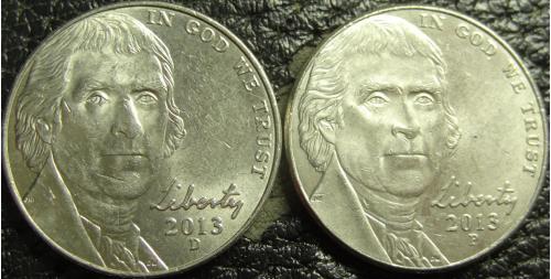 5 центів 2013 США (два різновиди)