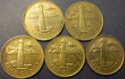 5 центів Барбадос (порічниця) 5шт, всі різні