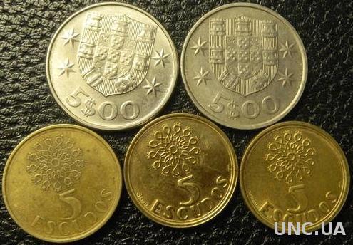 5 ескудо Португалія (порічниця) 5шт, всі різні