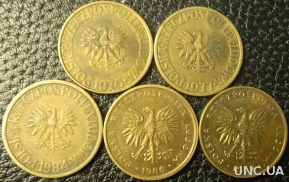 5 злотих Польща (порічниця) 5шт, всі різні