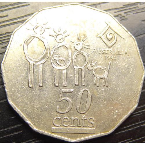 50 центів Австралія 1994 Міжнародний рік сім'ї