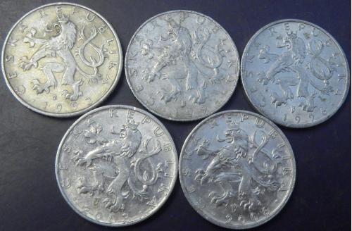50 гелерів Чехія (порічниця), 5шт, всі різні