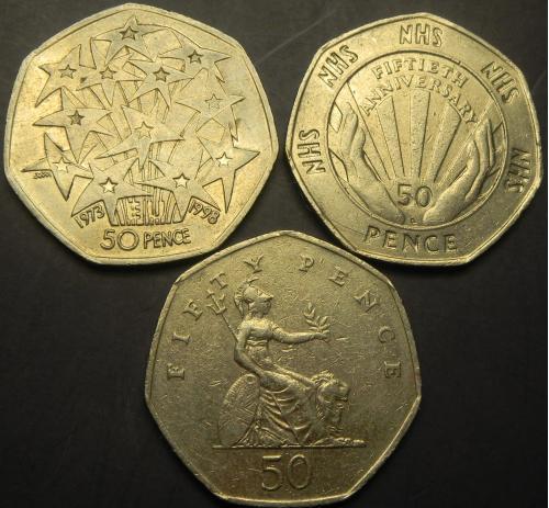 50 пенсів 1998 Британія (три різновиди)