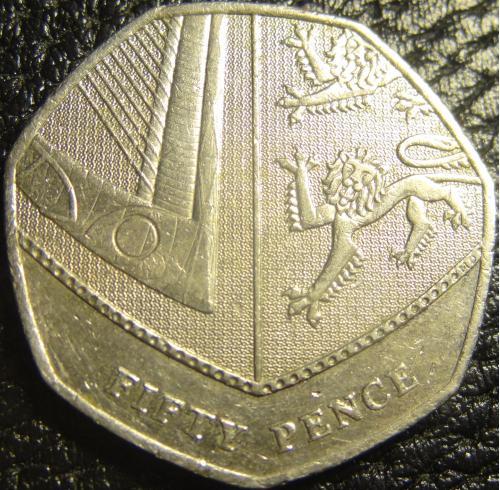 50 пенсів 2008 Британія новий дизайн