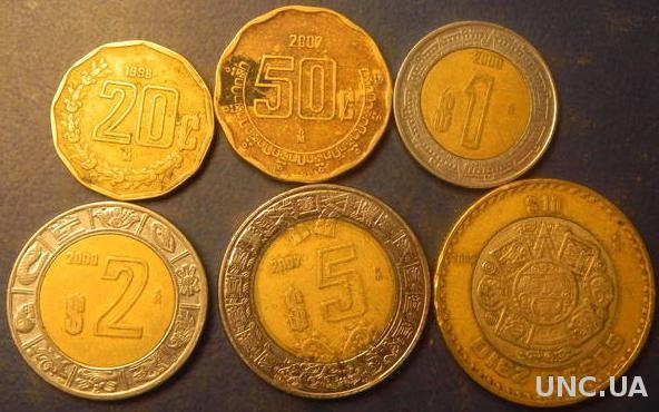 Комплект монет Мексики (обігові)