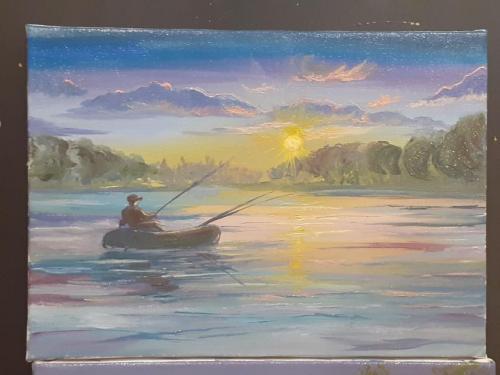 """купить картину, пейзаж """"Рыбалка"""" маслом, холст 35х25см"""