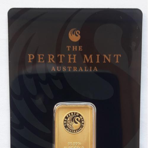 Злиток золото 10 г проба 9999 слиток Perth Mint Австралия 0.32 oz унций Au gold