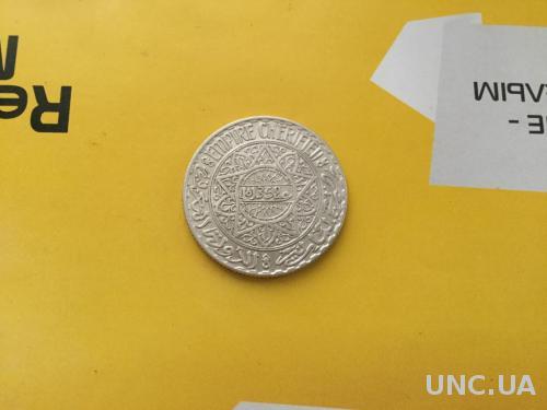 Марокко 10 франков 1352 г. Серебро