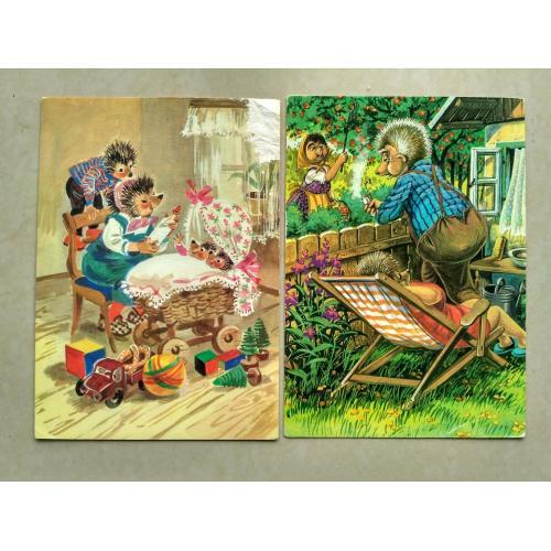 2 открытки ГДР из серии про ежей