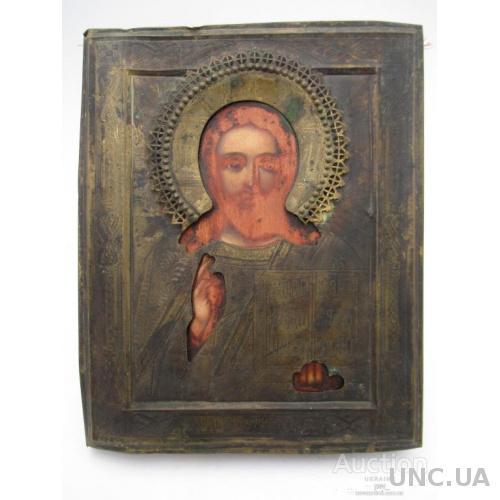 ИКОНА ИИСУС СПАС ВСЕДЕРЖИТЕЛЬ  металлический оклад  с  накладным венцом старинная