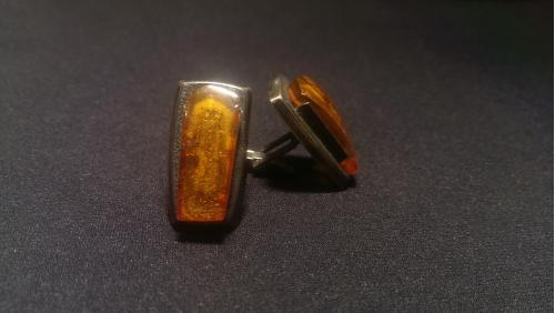 Запонки СССР янтарь серебро 875 (52)