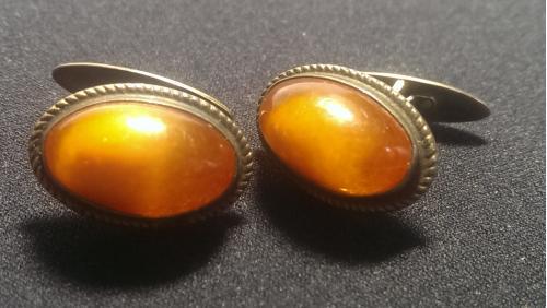 Запонки янтарь серебро 875 (29)