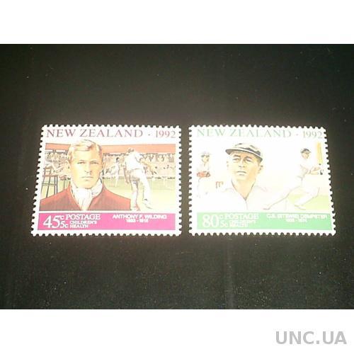 Новая Зеландия**-1992 г.-Теннис и крикер, известные спортсмены (полная)