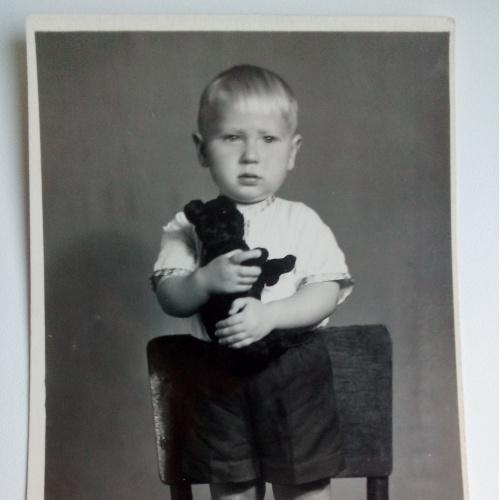Фото Дети Мальчик на стуле Игрушка Мишка Шорты Стул