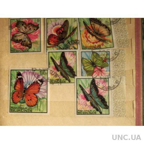 МАРКИ-Бурунди-7шт(1)-Флора- бабочки