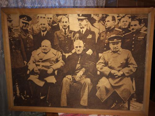 Картина выжигателем «Ялтинская конференция»