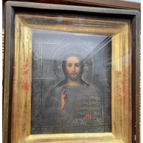 Икона Спаситель 1879 г. в серебряном окладе 84 в родном киоте