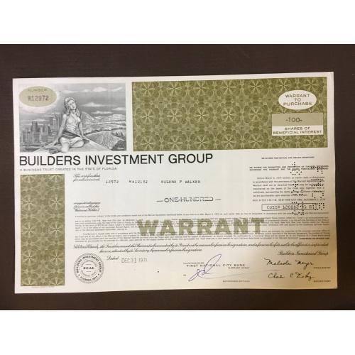 Builders Investment Group - Строительство - Сертификат - Америка - 1971 г.